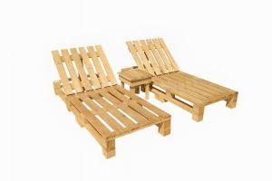 Zestaw leżaków drewnianych 200x60x30 cm ze stolikiem