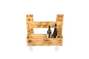 Stojak drewniany na wino i lampki